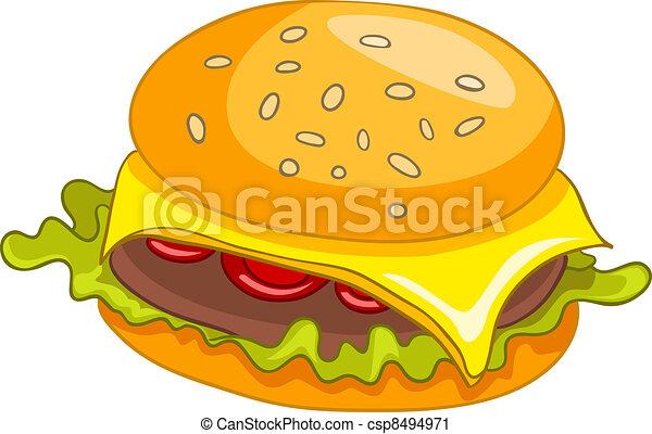 Cartoon Hamburger - csp8494971