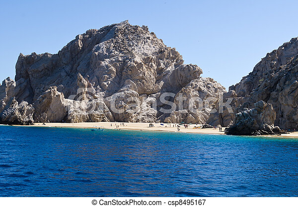 Sandy beach near El Arco rock formation - csp8495167
