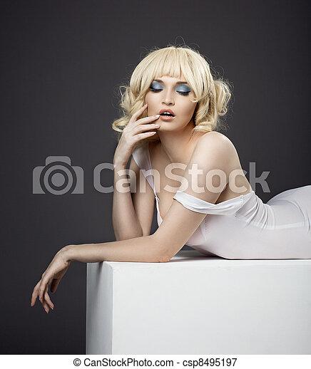 sensuality potrait of pretty woman in white cloth - csp8495197