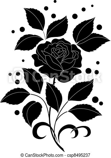 Rose flower and confetti, silhouettes - csp8495237