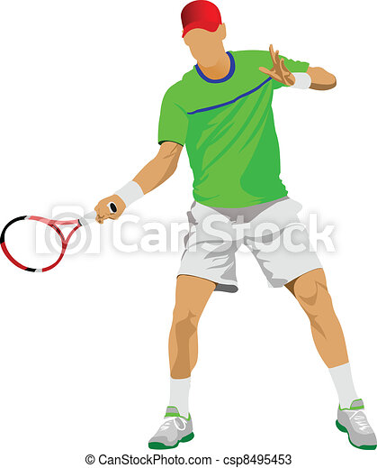 Tennis player. Colored Vector illu - csp8495453