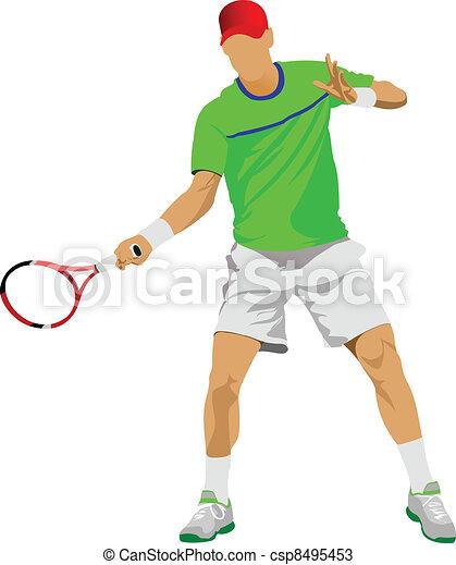 Tennis player. Colored Vector illu - csp8495453