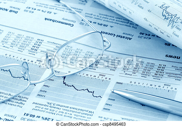 Finance news review (blue toned) - csp8495463