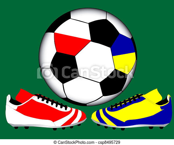 two shoes in the national colors of Poland and Ukraine - csp8495729
