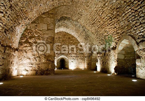 Detail of the fortress, Ajloun, Jordan. Arab and crusaders fort. - csp8496492