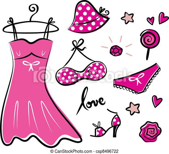 Moda, Retro, rosa, iconos, y, accesorios, para, romance,