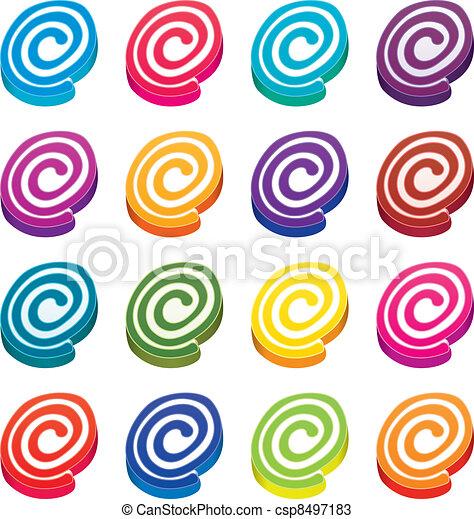 vector colorful fruit jellies  - csp8497183