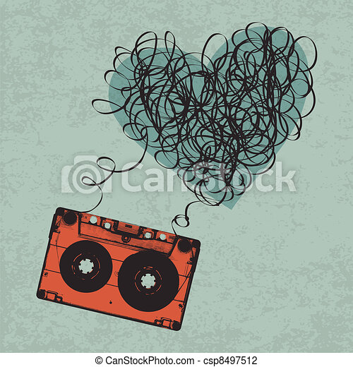 Vintage audiocassette illustration with heart shaped messy tape. Vector, Eps10 - csp8497512
