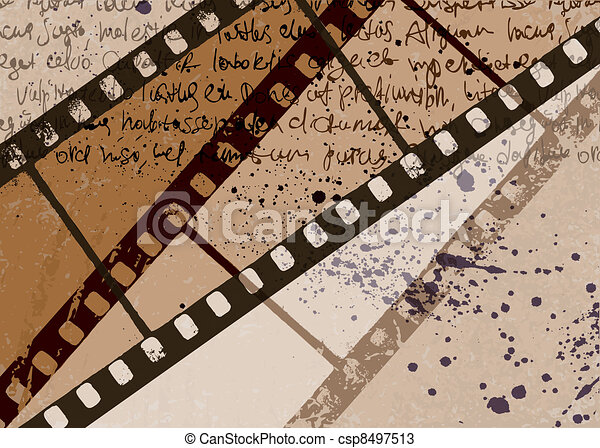 Grunge textured film frame abstract vector background. EPS10. - csp8497513