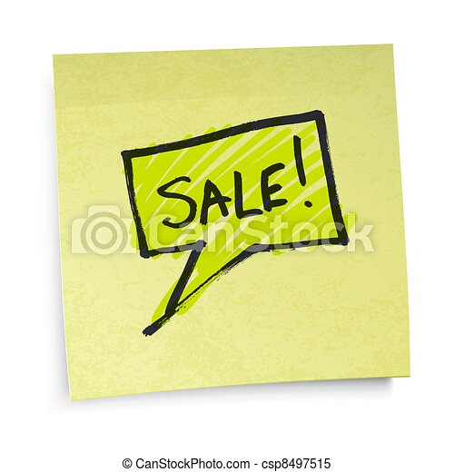 Sale text on yellow sticky paper. Vector illustration, EPS10. - csp8497515