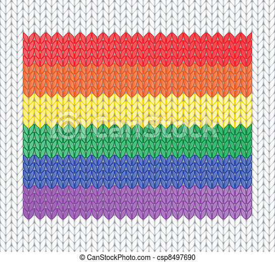 knitted rainbow flag - csp8497690