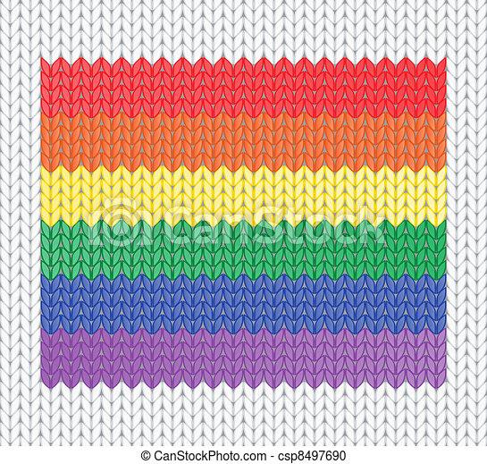 knitted rainbow flag - csp8497690
