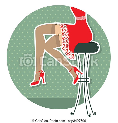 Retro woman legs with fashion shoes sitting on bar stool. - csp8497696