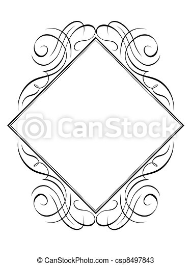 Vector calligraphy frame rhomb diamond pattern - csp8497843