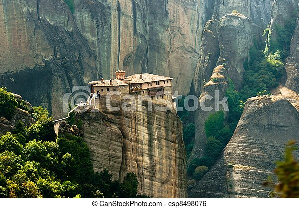 Stone building built on a mountain - csp8498076