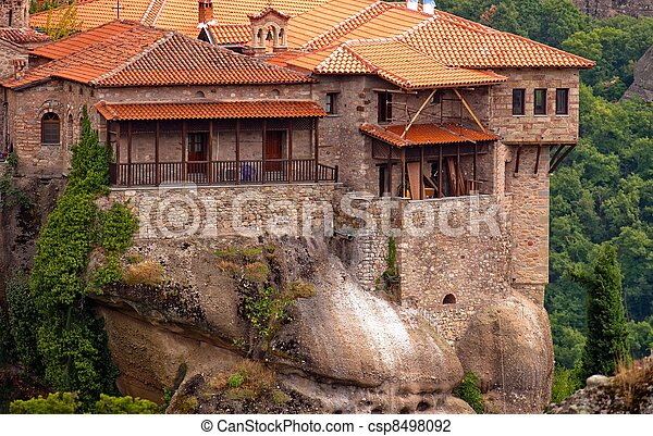 Stone building built on a mountain - csp8498092