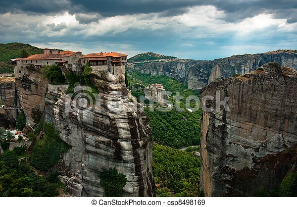 Stone building built on a mountain - csp8498169