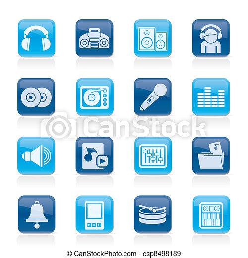 Música, sonido, iconos - csp8498189