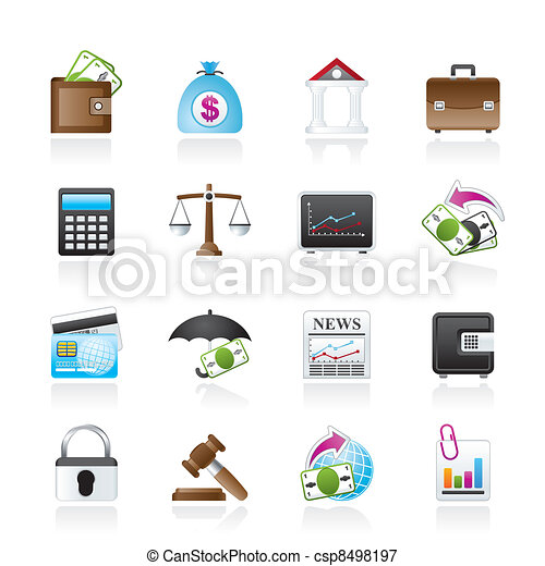 Business, finance and bank icons  - csp8498197