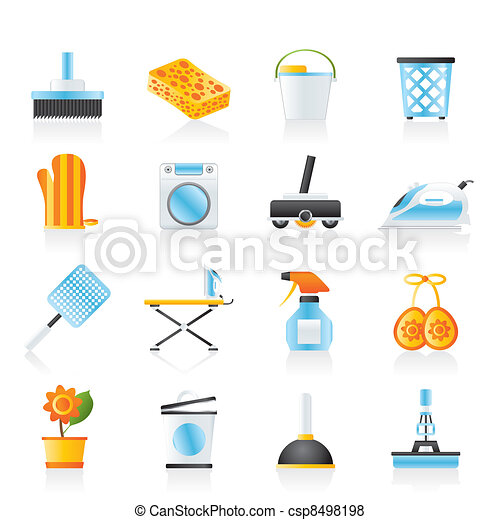 Household objects and tools icons - csp8498198