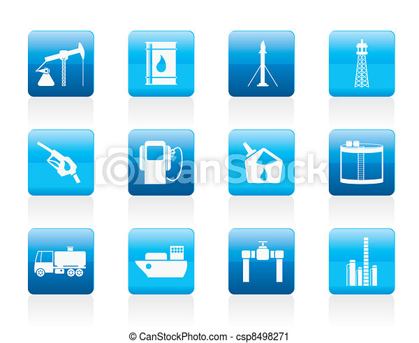 Oil and petrol industry icons - csp8498271