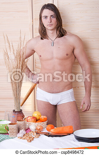 guy in the kitchen in the morning  - csp8498472