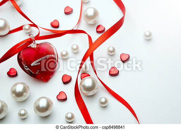 Design a greeting card Happy Valentines Day with red ribbon and  jewelry heart - csp8498841
