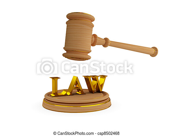 Lawyer's hammer and word LAW. - csp8502468