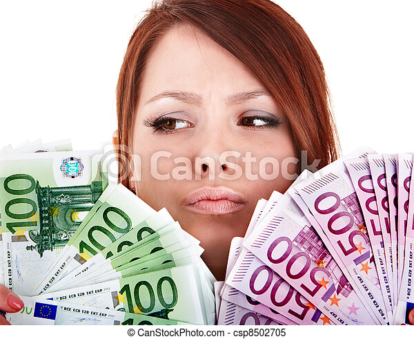 Young women with group of money euro. - csp8502705