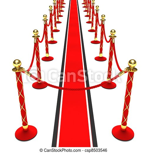 Stock Illustration of A red carpet and velvet rope on a ...