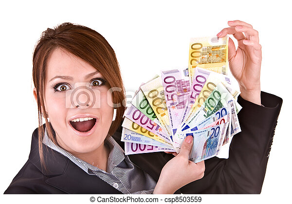 Businesswomen with group of money. - csp8503559