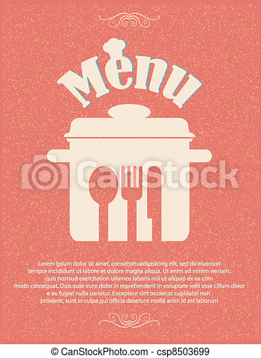 restaurant menu retro poster - csp8503699