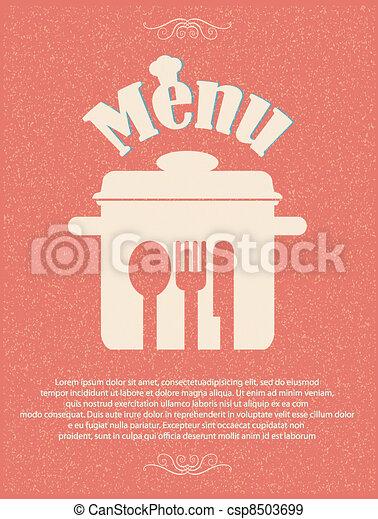 restaurant menu retro poster - csp8503699