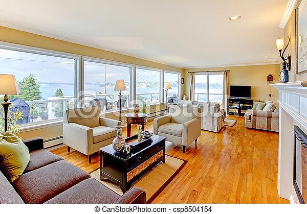 Luxury beautiful large living room iterior design. - csp8504154