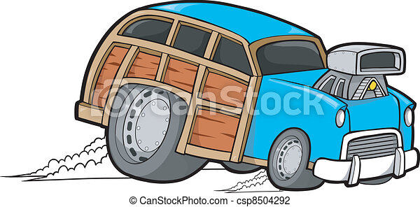 Woody Wagon Racer Car Vector - csp8504292