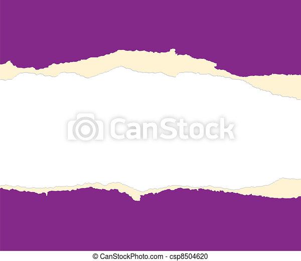 A violet sheet of paper is teared in two - csp8504620
