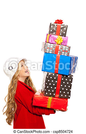kid girl holding many gifts stacked on her hand - csp8504724