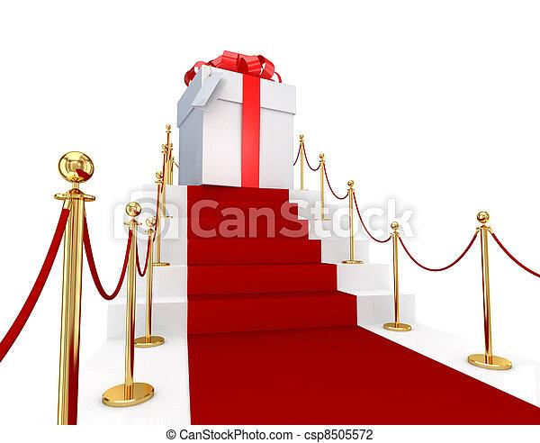 rouges, moquette, sur,  a, escalier, et, cadeau, boîte - csp8505572
