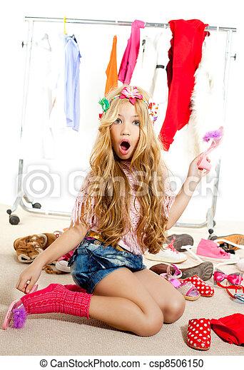 fashion victim kid girl wardrobe messy backstage - csp8506150