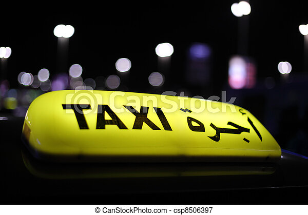 Taxi in Abu Dhabi at night, United Arab Emirates - csp8506397