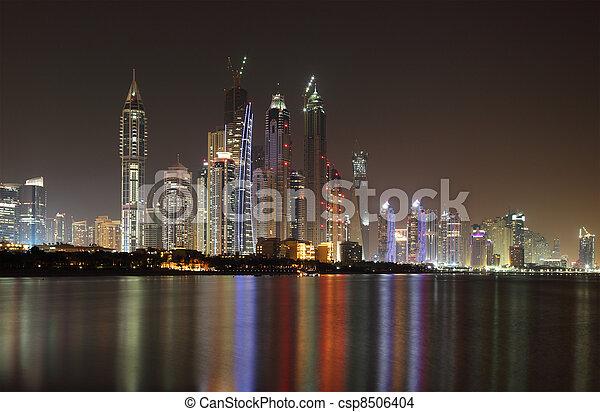 Dubai Marina skyline at night. United Arab Emirates - csp8506404