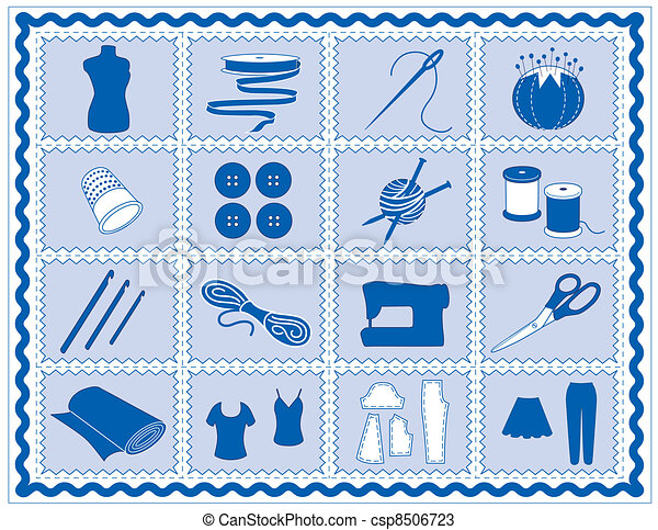 Sewing, Tailor, Knit, Crochet Icons - csp8506723