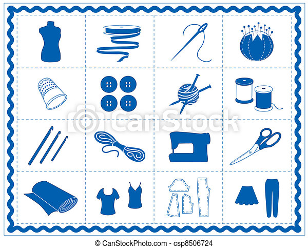 Sewing, Tailor, Knit, Crochet Icons - csp8506724