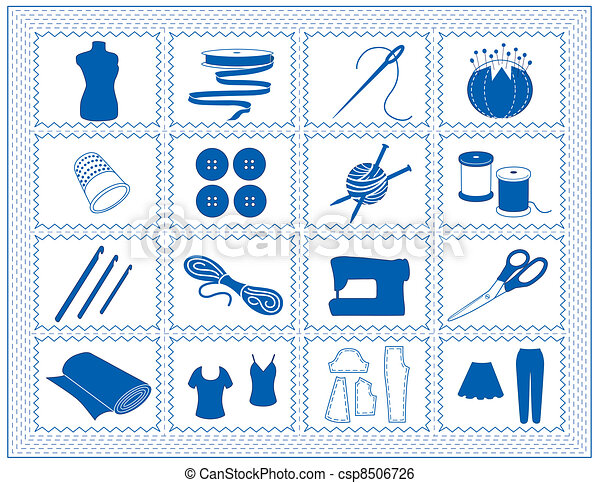 Sewing, Tailor, Knit, Crochet Icons - csp8506726
