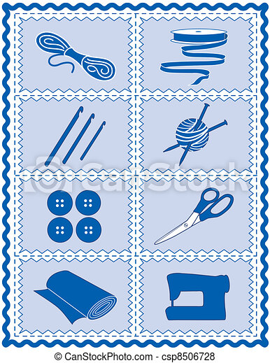 Sewing, Knit, Crochet, Craft Icons - csp8506728