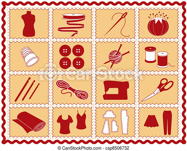 Sewing, Tailor, Knit, Crochet Icons - csp8506732