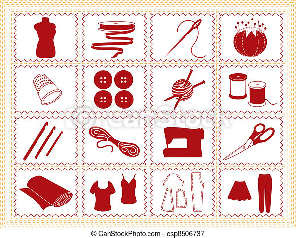Sewing, Tailor, Knit, Crochet Icons - csp8506737