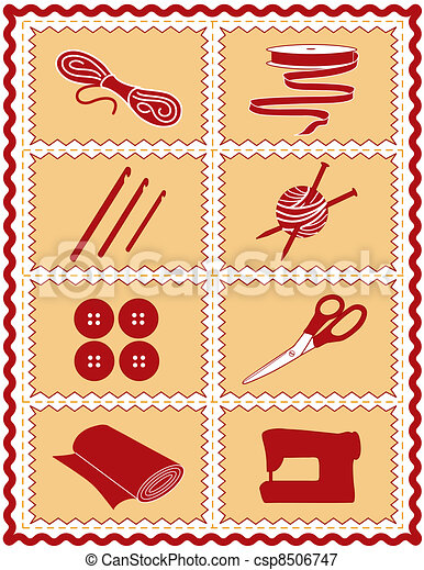 Sewing, Knit, Crochet, Craft Icons - csp8506747