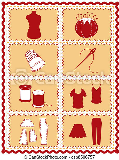 Sewing and Tailoring Icons - csp8506757