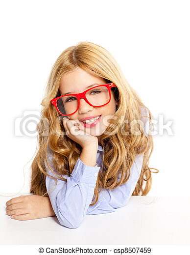 blond fashion kid girl with glasses portrait on white - csp8507459